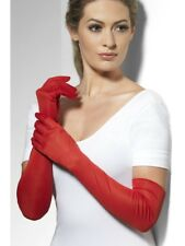Ladies Red Gloves Long 52cm Glamour Fancy Dress Accessory