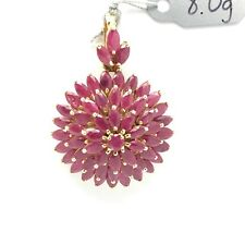 14k solid yellow gold natural rubies 3 layers round flower pendant 8.1 grams