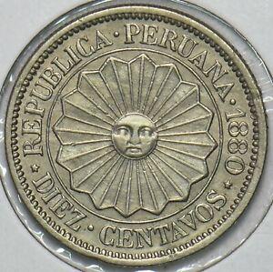 Peru 1880 10 Centavos 240324 combine shipping