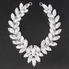 Silver Rhinestone Diamante Crystal Sew on Chain Applique Motif Wedding Trim B202