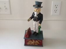 "Vintage Metal Mechanical Uncle Sam Coin Piggy Bank"" WORKS"""