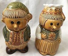 "Vintage 11.5"" Japan Man & Woman Cookie Jar Canisters with Hat Lids  - 4 Pieces"