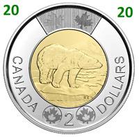 🇨🇦 2020 ❗ New Canada Toonie 2 Dollars BU Coin Polar Bear Bi-Metallic, UNC 2020