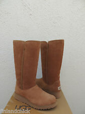 UGG KARA CLASSIC TALL SLIM SUEDE/ SHEEPSKIN WEDGE BOOTS, WOMEN US 7/ EUR 38 ~NEW