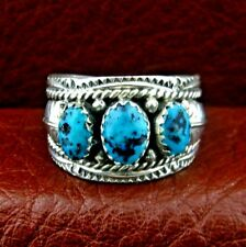 """Sterling Silver Men""""s Turquoise Ring  Size 10.5  Native American Made -- R18 B"""