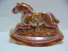 Vintage BROWN carnival iridescent GUERNSEY Glass ROCKY rocking horse #11 1982
