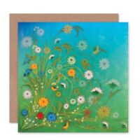 Flowers Colourful Blue Sky Grass Blank Greeting Card With Envelope