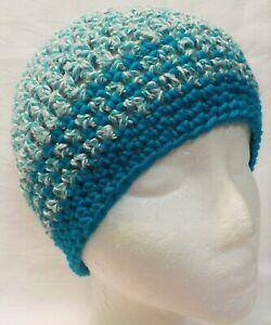"Beanie Hat ""SO SOFT"" NEW Handmade Crochet Knit Pretty Blue & White Adult size"