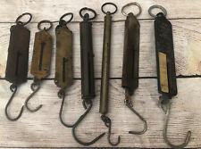 7 Antique Vintage Fishing Scales-Frays Ny-Pocket Balance Germany-Salter England