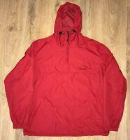 Carhartt mens red lightweight windbreaker anorak pullover jacket size L