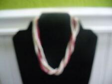 "Vintage 6 Strand Tiny White & Burgundy Plastic Bead 15"" Choker Necklace"