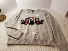 Karen Scott Womens LG Holiday Gray Sweater Black Cats Snowflakes