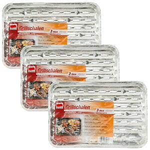 quickpack Grillschalen 3 x 3 Stück Alu Schale 34x22,5cm Grillzubehör eckig