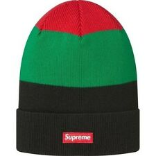 SUPREME Big Striped Beanie Black Box Logo camp safari garçon owl big logo S/S 13