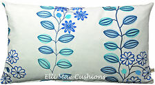 Jane Churchill Juno Embroidered Designer Fabric Blue Floral Cushion Pillow Cover