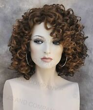Human Hair Blend wig Short Corkstrew Very Curly Brown mix Heat Safe mel 27/4/30