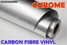 Cromo plateado de fibra de carbono Wrap Vinilo Hoja pegatina 200mm X 300mm A4 tamaño