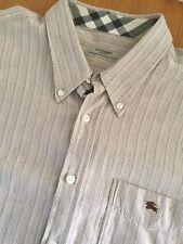 Burberry London Beige Y Gris De Rayas Camisa Manga Corta 100% Lino XL