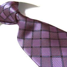 "Extra Long Polyester Woven Tie,Microfibre Purple Check XL Necktie PL244 63"""