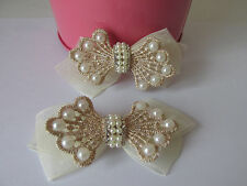 Bridal Wedding Vintage Look Pearl Rhinestones Lace Satin Ribbon Shoe bag Clips