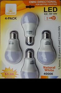 4Packs ( Counts) - Omni Directional LED E26 Light Bulbs UL US Listed