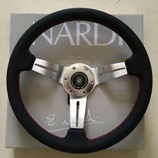 "Italian Nardi Style 350mm 14"" Personal Steering Wheel Genuine Leather Silver"