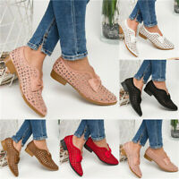 Women Hollow Out Bowknot Lace Flats Ladies Low Heel Pumps Casual Boat Shoes Size