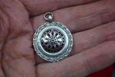 vintage mint sterling silver Watch fob dart board enamel face hallmarked no name