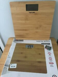 Taylor bathroom digital Scale 400 lbs. capacity natural bamboo