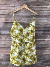 NEW Women's Plus Size 3X Renn Sleeveless Floral Print Romper White Yellow
