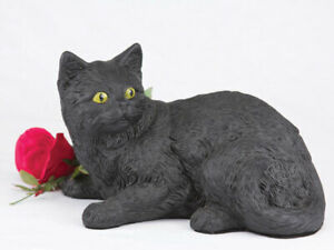 Cat Short Hair Figurine Urn, Black