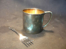 Old Vtg Collectible Oneida Silversmith Baby Child's Cup & Fork Utensils