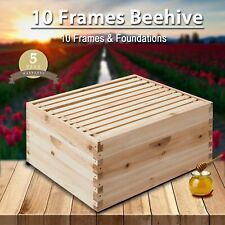 10-Frame Deep Size Beekeeping Kit Bee Hive House Frame Beehive 10 Deep yw