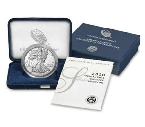 IN STOCK: 2020 S PROOF SILVER EAGLE IN BOX/COA MINT FRESH! 20EM