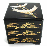 Japanese Stack Bento Box Lunch Container 3-Tiers Lacquered Cranes Made in Japan