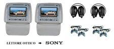 """Coppia di DVD-CD 7"""" LCD 16:9 poggiatesta con zip FM-MP3-MP4-SD-USB"""