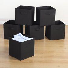 Storage Bins - 6 Pack Collapsible Cloth Storage Baskets, Dual Handles, Black