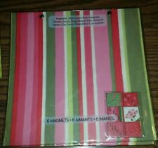 """Magnetic Wall Board 6 Magnets  Studio 18 Pink Green Stripes 10"""" x 10"""""""
