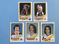 1976-77 WHA 5 Cards Hockey Card Lot - Edmonton Oilers CalgaryCowboys +++++