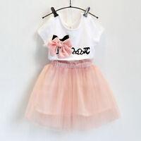 Children Kids Girl Dress Bow T-shirt Tops+Tulle Tutu Skirts 2pcs Outfits Set UK