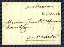"""Marque postale """"D'ITALIE"""" s/lettre de GÊNES (répub. Gênes) pour MARSEILLE - 1739"""