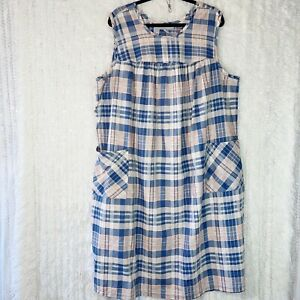 Only Necessities Sleeveless Nightgown Size 1X 22/24 Plaid Lounge Dress Pockets