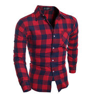 New Brand Plaid Men Shirts Long Sleeve Cotton Slim Fit Casual Shirt Clothes