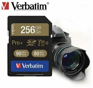 GENUINE VERBATIM 256GB PRP+ V30 SDXC SD CARD 80 MB/s BRAND NEW UK SELLER
