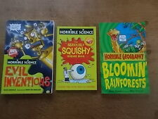 Collection 3 Childrens Books HORRIBLY FAMOUS HORRIBLE SCIENCE x2 and GEOGRAPHY