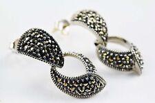 Vintage Judith Jack 925 Sterling Silver Marcasite Hinged Teardrop Earrings