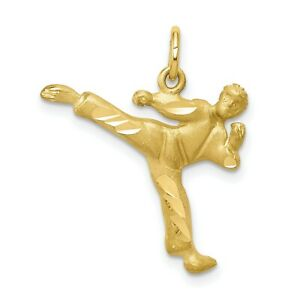 Solid 10k Yellow Gold Male Martial Arts Figure Performing Kick Charm Pendant