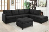 Contemporary Sectional Modern Sofa Microsuede Reversible Chaise &Ottoman From CA