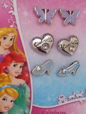 Girls-Disney-Princess-Cinderella-3-Pair-Pkg-Earrings-Slippers-Hearts-Butterflies
