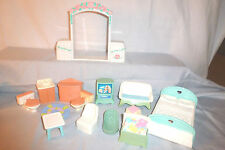 FISHER PRICE LOVING FAMILY DOLLHOUSE FURNITURE LOT~BEDROOM~BATHROOM~TV~
